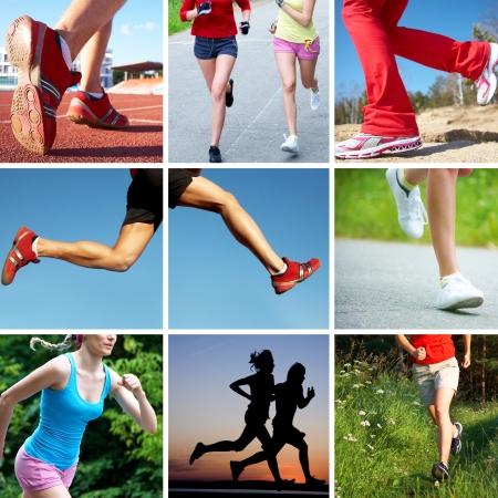 hacer footing: collage de fotos de los pies de los corredores en los deportes y fitness
