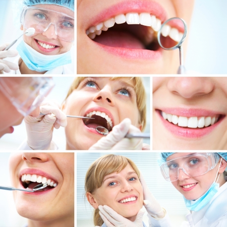 dental tools: collage of photographs on the theme of healthy teeth and Dental doctor Stock Photo