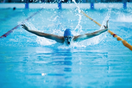competitive: young man swims the butterfly in the pool