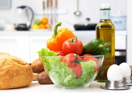 meat counter: healthy foods are on the table in the kitchen Stock Photo