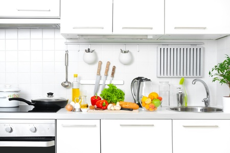 eating utensils: Modern kitchen at home with healthy food