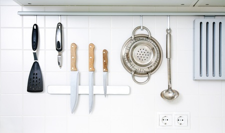 cookware: Modern kitchen at home with kitchenware Stock Photo