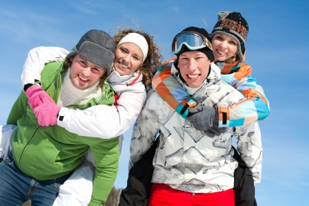 Portrait of Group of  teenagers have a good time in winter Stock Photo - 15871559