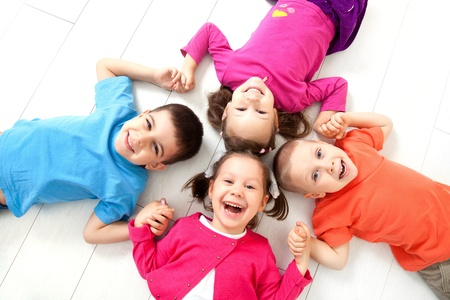 age 5: Four kids are on the floor together  Top view