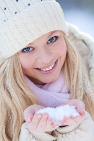 Portrait of blond young woman in winter Stock Photo - 16250066