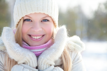 Portrait of blond young woman in winter Stock Photo - 16250037