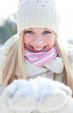 Portrait of blond young woman in winter
