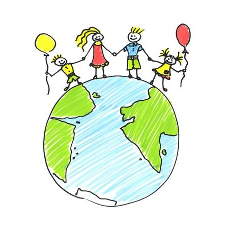 hand holding globe: family Stock Photo