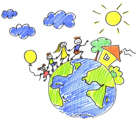 hands holding earth: family travelling on planet Stock Photo