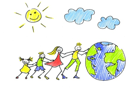 drawing boy: family and planet