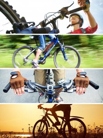 Collage von Fotografien zum Thema Radfahren Erholung Lizenzfreie Bilder