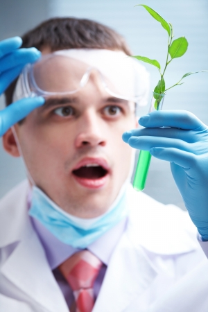 herbal knowledge: man scientist holding a test tube with plant Stock Photo