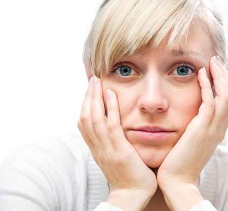 sadly: giovane donna, bianco, tristemente seduto con la testa appoggiata sulle mani Archivio Fotografico
