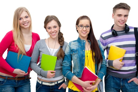 secondary schools: Portrait of group positive teenagers wiht books