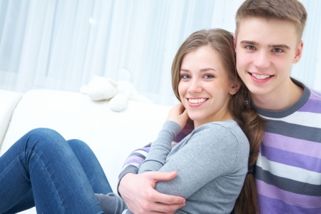 young teen girl nude: Portrait of attractive young couple at home