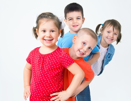 human age: Big  group of diverse children  funny  playing