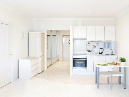 kitchen inter in bright apartment Stock Photo - 18621004
