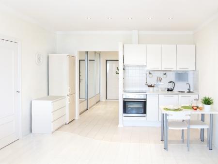 furniture hardware: kitchen interior in bright apartment