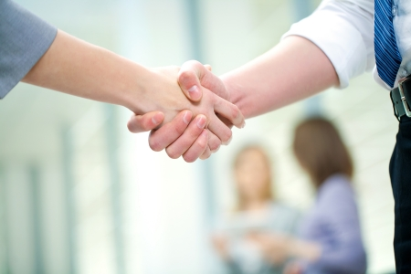 business agreement: Businesswoman doing an agreement Stock Photo