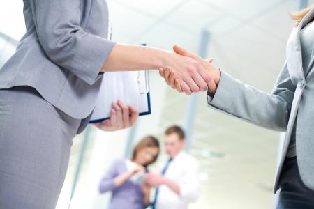 job recruitment: Businesswoman doing an agreement Stock Photo