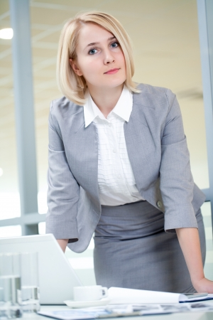 bank manager: Portrait of attractive businesswoman in the workplace Stock Photo