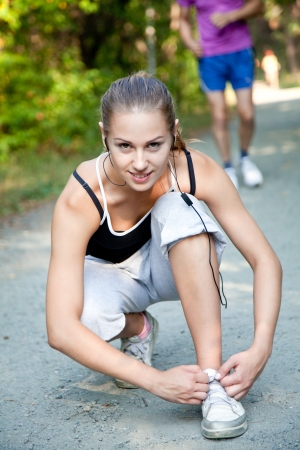 Young woman is  preparing for a run Stock Photo - 18768306