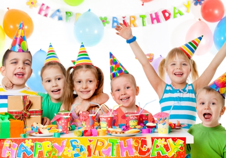 party food: group of children at birthday party