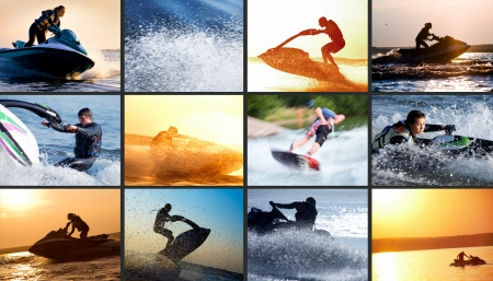Collage of images strong men drives on the jetski above the water  photo
