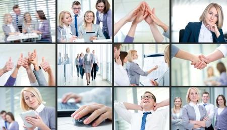 Collage d'images jeune équipe qui travaille ensemble dans l'entreprise