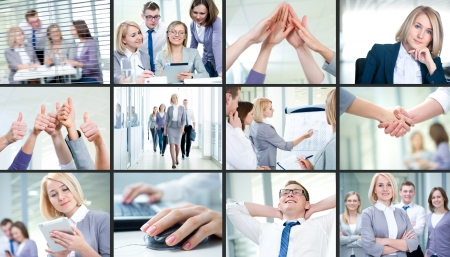 women working: Collage of images young team working together in business Stock Photo