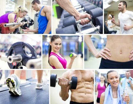 hombres haciendo ejercicio: collage de imágenes de estilo de vida saludable Foto de archivo