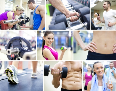 fitness club: collage of images healthy lifestyle