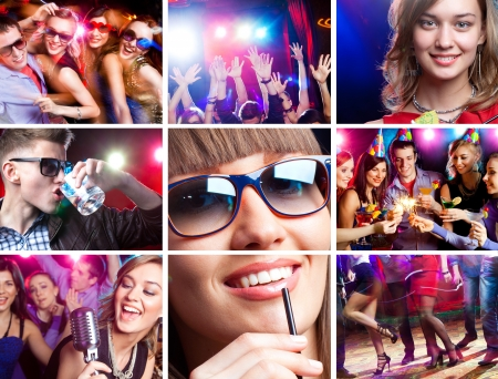 enjoys: collage of images  disco dance happy young people enjoys  party