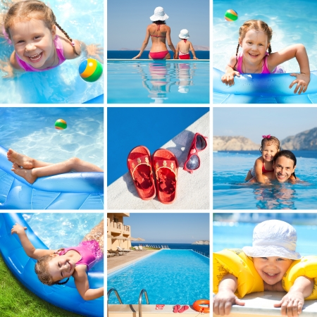 pool fun: Collage of images  resort and summer vacations Stock Photo