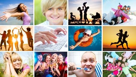 стиль жизни: Коллаж из фотографий красивых счастливых людей в разнообразии жизни