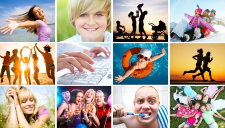 Collage of photos of beautiful happy people in the diversity of life photo