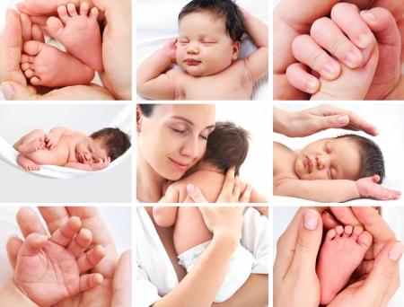 madre y bebe: collage de fotos de la madre feliz con el beb� en blanco Foto de archivo