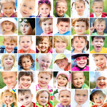 multiple image: collage of many faces of children Stock Photo