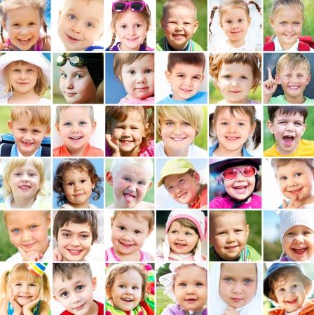 kisbabák: kollázs sok arca van a gyermekek Stock fotó
