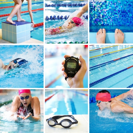 timer: Collage of images on the theme of competitive swimming in the pool