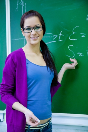 conducts: young woman - teacher conducts a lesson from the school board Stock Photo