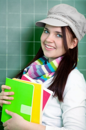 beautiful young student in glasses standing at the blackboard Stock Photo - 21463281
