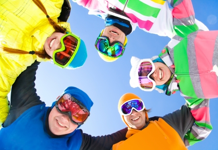 alpine skiing: Group of young people on ski holiday in mountains