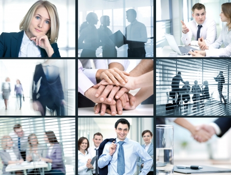 Collage of foto young people working together in business photo