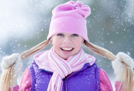 Portrait of blond young sporty woman in winter photo