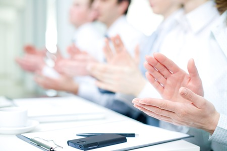 Photo of business partners hands applauding at meeting Stock Photo - 27439616