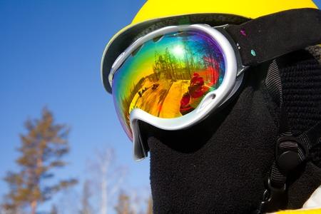ski mask: beautiful reflection of the ski glasses