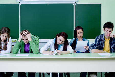 group of students takes the test in class photo