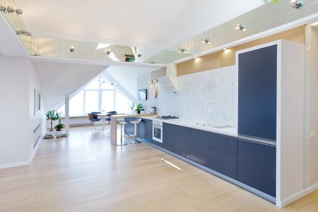 wood floor: modern interior light a large apartment in mansard