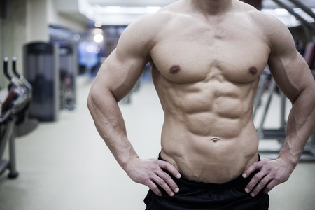handsome muscular male body in gym. unrecognizable photo